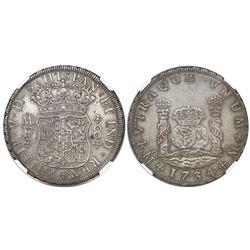 Mexico City, Mexico, pillar 8 reales, Philip V, 1734MF, encapsulated NGC XF 40.