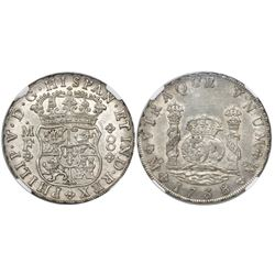 Mexico City, Mexico, pillar 8 reales, Philip V, 1738MF, encapsulated NGC MS 61.