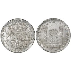 Mexico City, Mexico, pillar 8 reales, Philip V, 1742MF, encapsulated NGC MS 64.