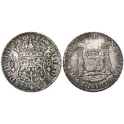 Mexico City, Mexico, pillar 8 reales, Ferdinand VI, 1750MF.