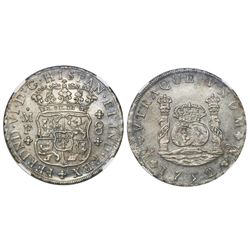 Mexico City, Mexico, pillar 8 reales, Ferdinand VI, 1752MF, encapsulated NGC MS 61.