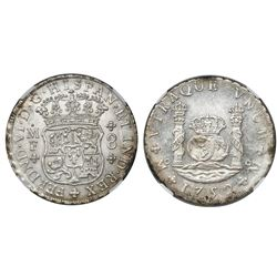 Mexico City, Mexico, pillar 8 reales, Ferdinand VI, 1752MF, encapsulated NGC MS 61.