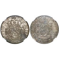 Mexico City, Mexico, pillar 8 reales, Charles III, 1761MM, cross between H and I, single-arc crown,