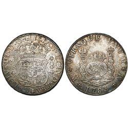 Mexico City, Mexico, pillar 8 reales, Charles III, 1763/2MF.