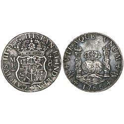 Mexico City, Mexico, pillar 8 reales, Charles III, 1766/5MF.