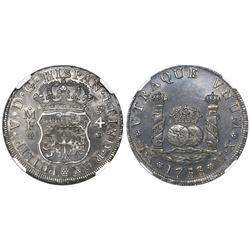 Mexico City, Mexico, pillar 4 reales, Philip V, 1733MF, mintmark M.X, extremely rare, encapsulated N