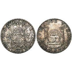 Mexico City, Mexico, pillar 4 reales, Ferdinand VI, 1757MM.