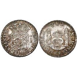 Mexico City, Mexico, pillar 2 reales, Ferdinand VI, 1748M, ex-Craig.