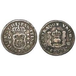 Mexico City, Mexico, pillar 1/2 real, Philip V, 1733/2MF, very rare.