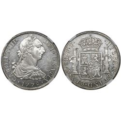 Mexico City, Mexico, bust 8 reales, Charles III, 1778FF, encapsulated NGC AU 58.