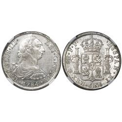 Mexico City, Mexico, bust 8 reales, Charles III, 1784FF (very rare assayer), encapsulated NGC AU det