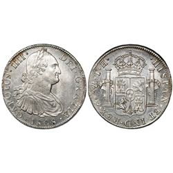 Mexico City, Mexico, bust 8 reales, Charles IV, 1808/7TH.