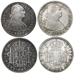 Lot of two Mexico City, Mexico, bust 8 reales, Charles IV, 1799FM and 1804TH.