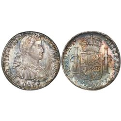 "Mexico City, Mexico, bust 8 reales, Ferdinand VII transitional (""armored"" bust), 1811/0HJ."