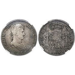 Mexico City, Mexico, bust 8 reales, Ferdinand VII, 1814/3HJ (very rare assayer), encapsulated NGC VF