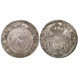 "Zacatecas, Mexico, 8 reales Ferdinand VII, 1811-L.V.O., ""FERDIN VI"" error, very rare."
