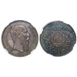 Guanajuato, Mexico, 1 peso, 1866, Maximilian, encapsulated NGC AU 55, rare mint.
