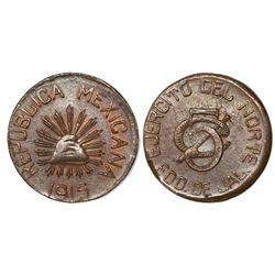 Jalisco, Mexico, copper 5 centavos, Ejercito del Norte, 1915.