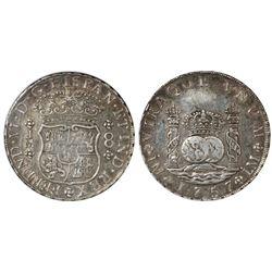 Lima, Peru, pillar 8 reales, Ferdinand VI, 1757JM, encapsulated ANACS AU 50.