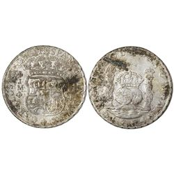 Lima, Peru, pillar 8 reales, Charles III, 1764JM, dots over both mintmarks.