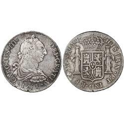 Lima, Peru, bust 8 reales, Charles III, 1781MI.