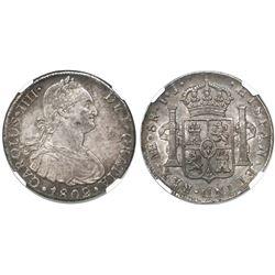 Lima, Peru, bust 8 reales, Charles IV, 1802IJ, encapsulated NGC AU 55.