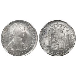 "Lima, Peru, bust 8 reales, Ferdinand VII (small ""imaginary"" bust), 1811JP, long ribbons, encapsulate"