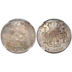 "Lima, Peru, bust 8 reales, Ferdinand VII (small ""imaginary"" bust), 1811JP, short ribbons, encapsulat"