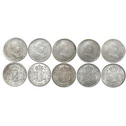 Lot of five Lima, Peru, bust 2 reales, Ferdinand VII, assayers JP, dates as follows: 1816, 1817, 181
