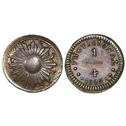 Lima, Peru, copper 1/4 real, 1822.