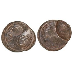 Lima, Peru, provisional copper 1/4 peso, 1823, offset brockage error.