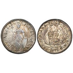 Pasco, Peru, 4 reales, 1857, monogram Z inside O, encapsulated NGC AU 58.