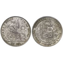 "Lima, Peru, 1 sol, 1864/54YB, Roman 1, ""DERTEANO"" variety (rare), encapsulated PCGS AU 50."