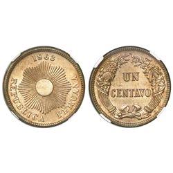 Peru, copper-nickel 1 centavo, 1863, encapsulated NGC MS 65.