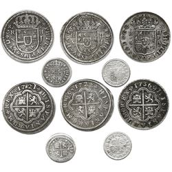 "Lot of five Spanish milled 2R ""pistareens"" (3) and 1/2R ""quarter pistareens (2), Philip V and Ferdin"