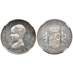 Madrid, Spain, 5 pesetas, Alfonso XIII (infant bust), 1888MP-M, with 18-88 inside stars, encapsulate