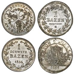 Lot of two coins: Switzerland, St. Gall, billon 1 batzen, 1813K; Graubunden, billon 1 batzen, 1836 H