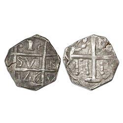 """Barinas (Caujaral), Venezuela, """"imitation cob"""" 1 real (""""chipi-chipi""""), """"146"""" date (ca. 1807)."""