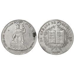 Bolivia, 8 soles-sized silver prize medal, 1855, Jose Manuel Loza.