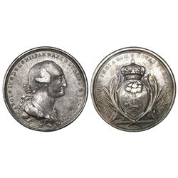Durango, Mexico, silver proclamation medal, Charles IV, 1790, by G.A. Gil.