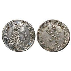 Zaragoza, Spain, 1R-sized silver proclamation medal, Ferdinand VI, 1746.