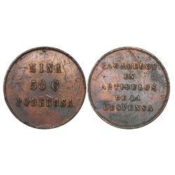 Mina Poderosa, Chile, copper 50 centavos token, no date (ca. 18XX).
