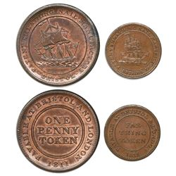 Lot of two Bristol, England (Great Britain), copper tokens (penny and farthing), Patent Sheathing Na