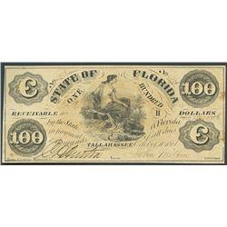 Tallahassee, Florida, State of Florida, 100 dollars, 10-10-1861.