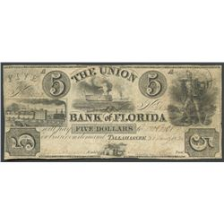 Tallahassee, Florida, Union Bank of Florida, 5 dollars, 30-1-1836.