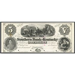 Russellville, Kentucky, Southern Bank of Kentucky, 5 dollars front proof, ND (18XX), no overprint.