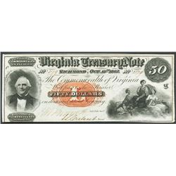 Richmond, Virginia, Virginia Treasury, 50 dollars, 15-10-1862.
