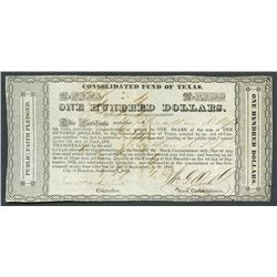Houston, Texas, Consolidated Fund of Texas, 100 dollars, 1-9-1837,  Jund  error variety.