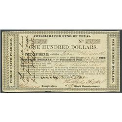 "Houston, Texas, Consolidated Fund of Texas, 100 dollars, 1-3-1839, handwritten ""his"" variety."