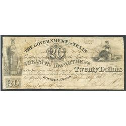 Houston, Texas, Government of Texas, 20 dollars, 1-9-1838, Sam Houston secretarial signature.